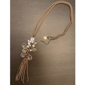 WHBM Pearl & Crystal Gold Tone Necklace